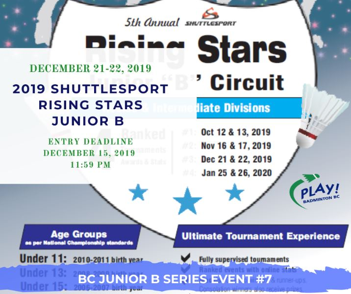 2019 Shuttlesport Rising Stars 3 | BC Junior B Series Event #7