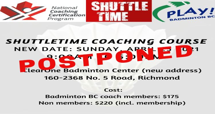POSTPONED - NCCP SHUTTLETIME COURSE FOR COACHES